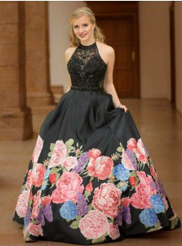 A-Line Halter Black Floral Satin Evening Prom Dress with Beading