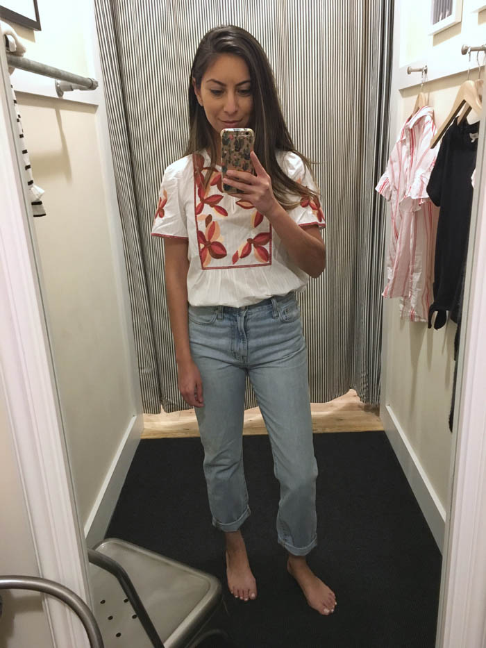 cute embroidered white top