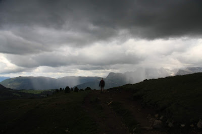 On the north side of the Lankofel Group and stormy weather.