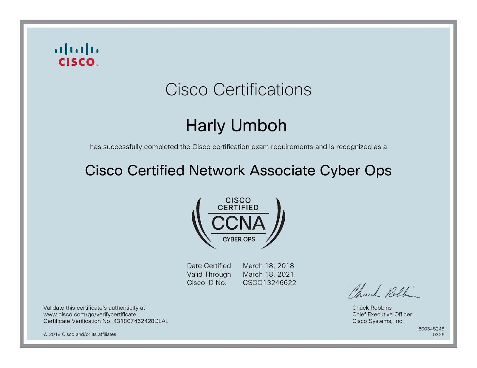 HARLY UMBOH: Lulus Sertifikasi CCNA Cyber Ops
