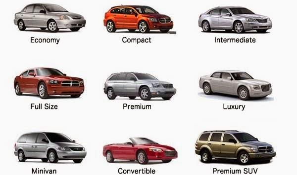 Modelos de auto de alquiler en el viaje a EE.UU.