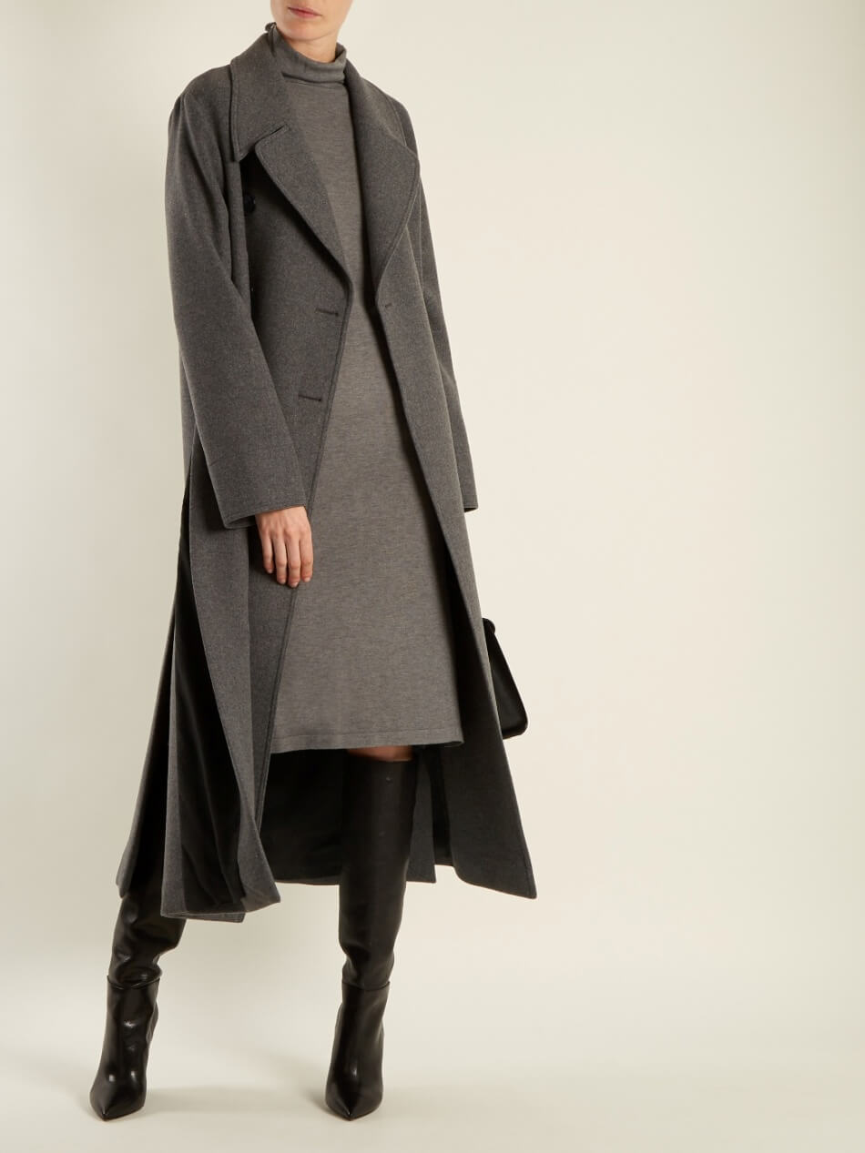 Long Dramatic Wool Coat With Side Slits