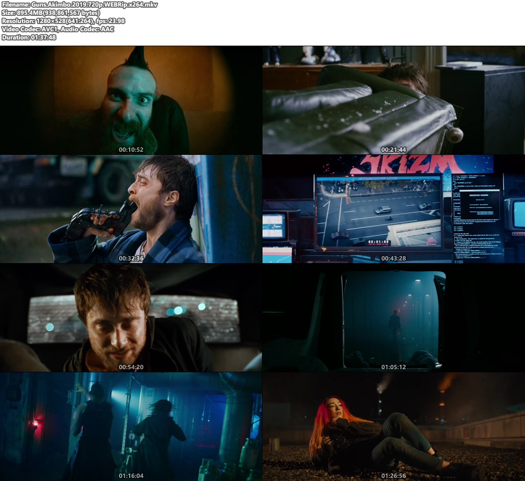 Guns Akimbo 2019 720p WEBRip x264 | 480p 300MB | 100MB HEVC Screenshot