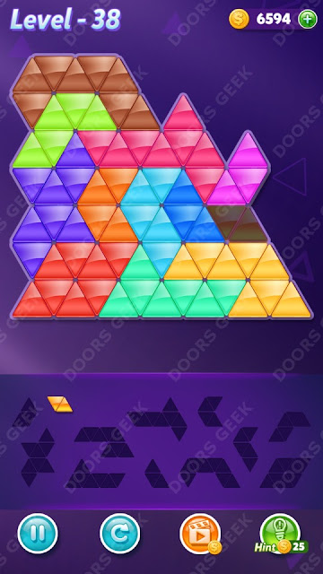 Block! Triangle Puzzle 12 Mania Level 38 Solution, Cheats, Walkthrough for Android, iPhone, iPad and iPod