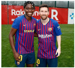 Super Falcons Star, Asisat Oshoala Meets Lionel Messi At Training [Photo]