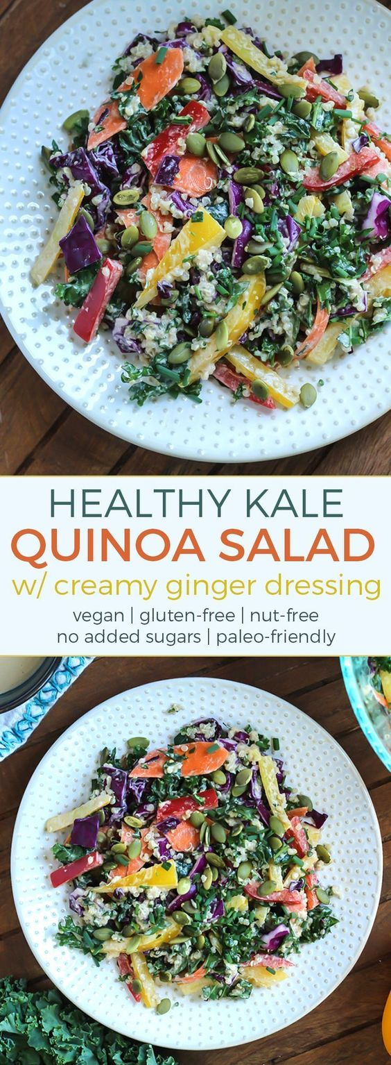 Rainbow Kale Salad with Carrot Ginger Dressing Recipes
