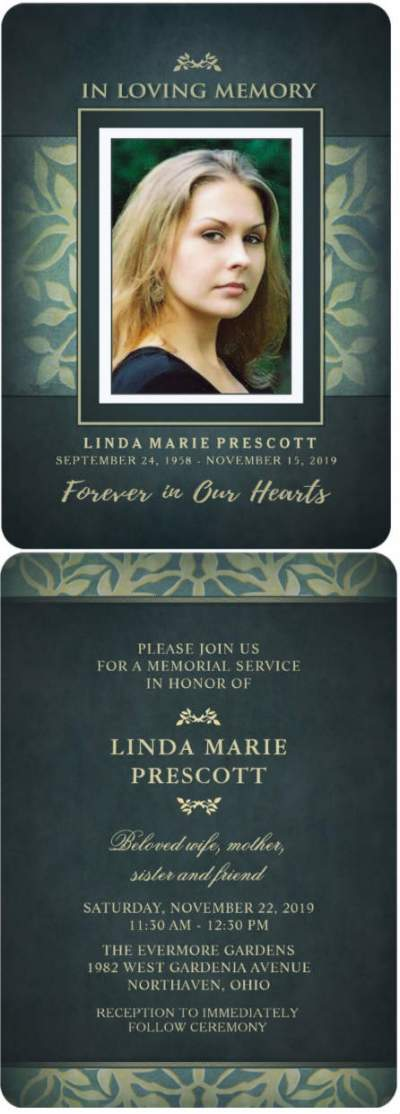 teal and gold floral memorial invitation card front and back