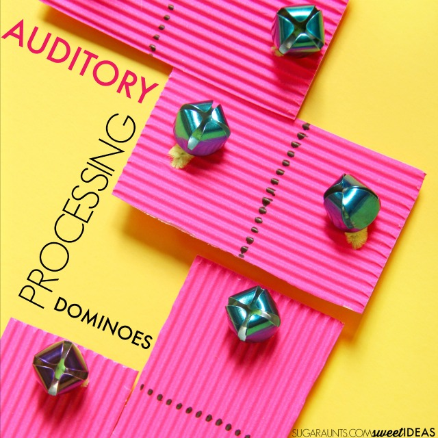 Auditory processing dominoes made with bells are perfect for a color matching activity, and can be graded to meet the auditory needs of all ages.