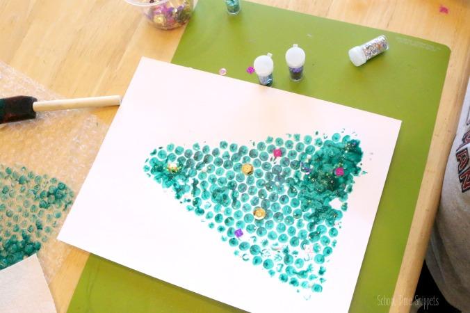 christmas tree bubble wrap prints