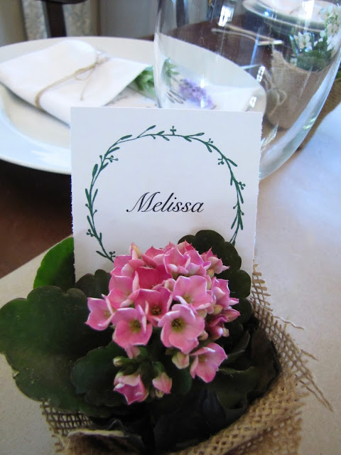DIY flower pot place card holder
