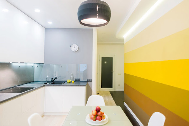 желтая стена в кухне