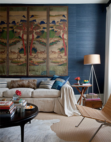 Chinoiserie Chic Navy Grasscloth