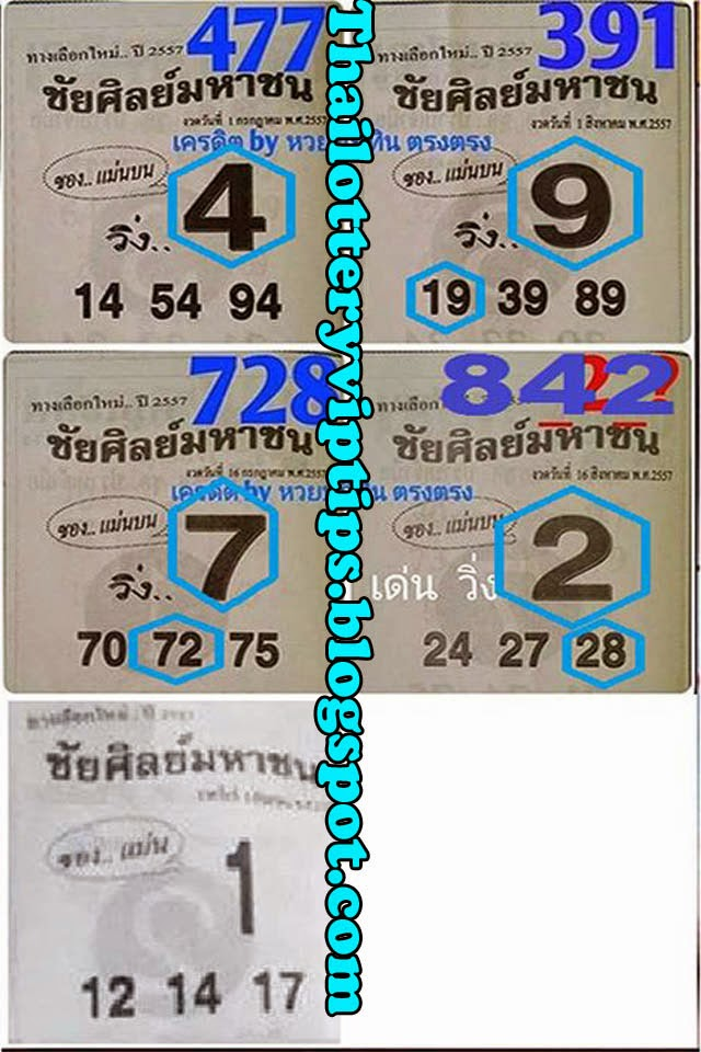 Thai Lottery Single Sure Digit 01-09-2014