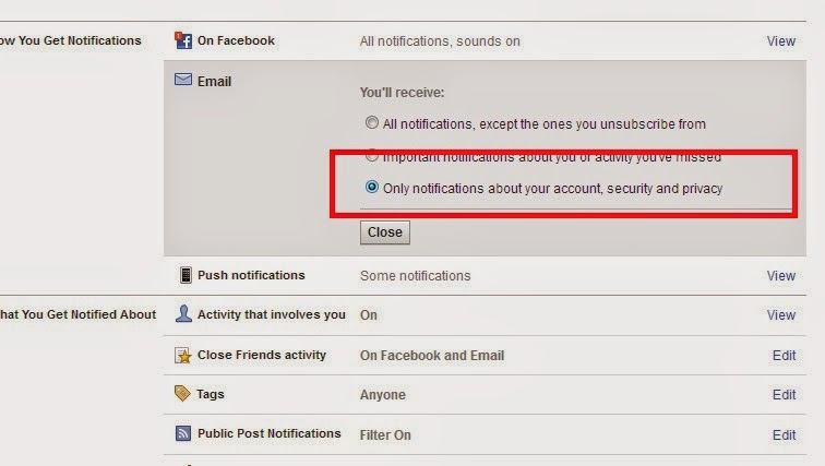 Select mail option for Account security and privacy