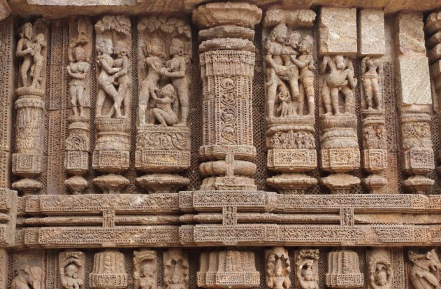 Erotica portrayed on the walls of the Sun Temple, Konark, India