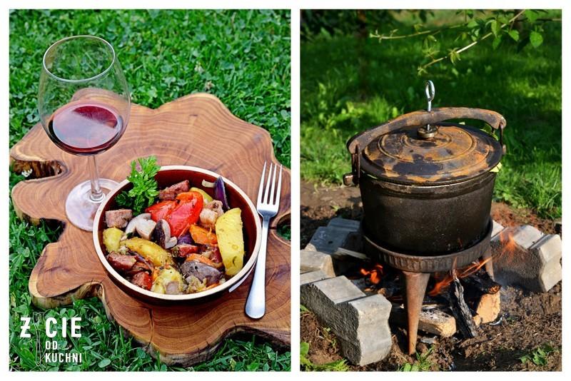 prazonka, duszonka, kociolek, zeliwny kociolek, na ogniu, danie z ognia, danie z ogniska, zycie od kuchni