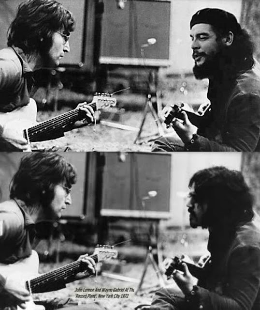 Original capture of John Lennon and Wayne Gabriel in 1976 (bottom) and Photoshopped image of him with Che Guevara (top)