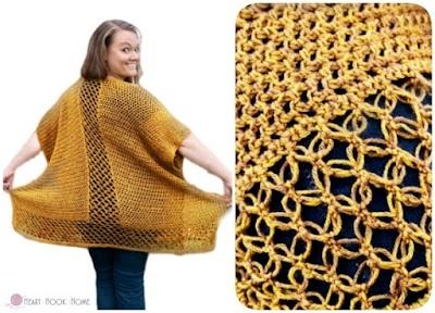 Ruana larga de crochet combinada con punto Salomón
