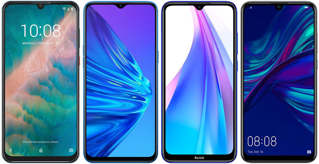 ZTE Blade V10 vs Realme 5 128 GB vs Xiaomi Redmi Note 8T 32 GB vs Huawei P Smart 2019
