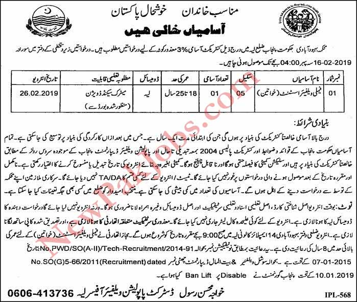 Female Family Welfare Assistant Jobs in layyah 23-01-2019