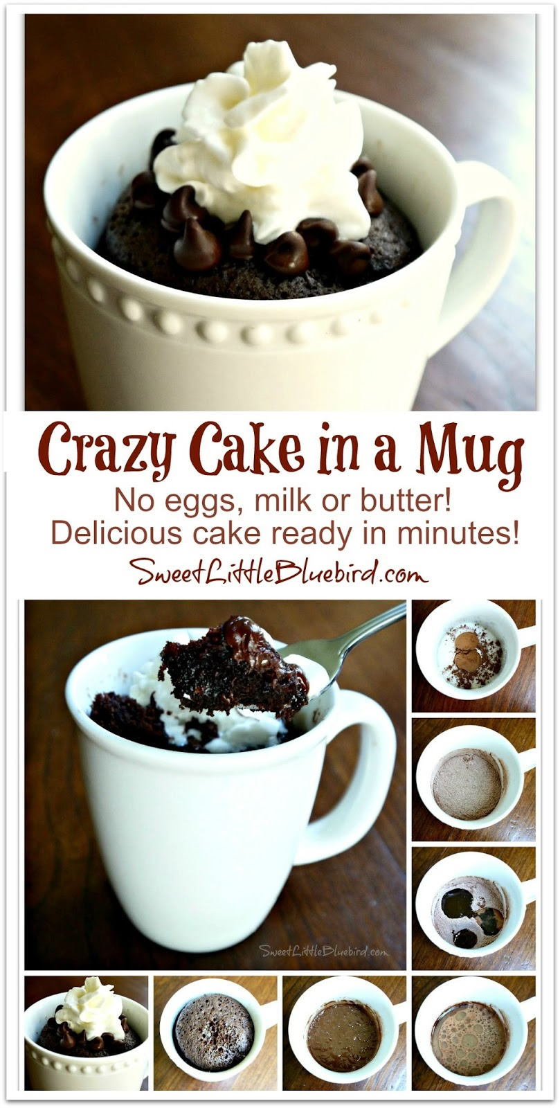 Crazy Cake In A Mug No Eggs Milk Or Butter Ready In Minutes Sweet Little Bluebird