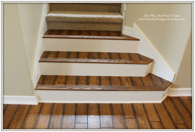 Rustic-Stair- Renovation-Oak-Flooring-Verticel Design-From My Front Porch To Yours
