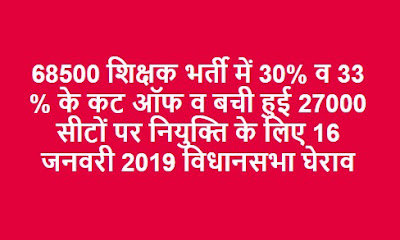 30 व 33 कट ऑफ व 68500 शिक्षक भर्ती में बची हुई 27000 सीटों पर नियुक्ति के लिए 16 जनवरी 2019 विधानसभा घेराव