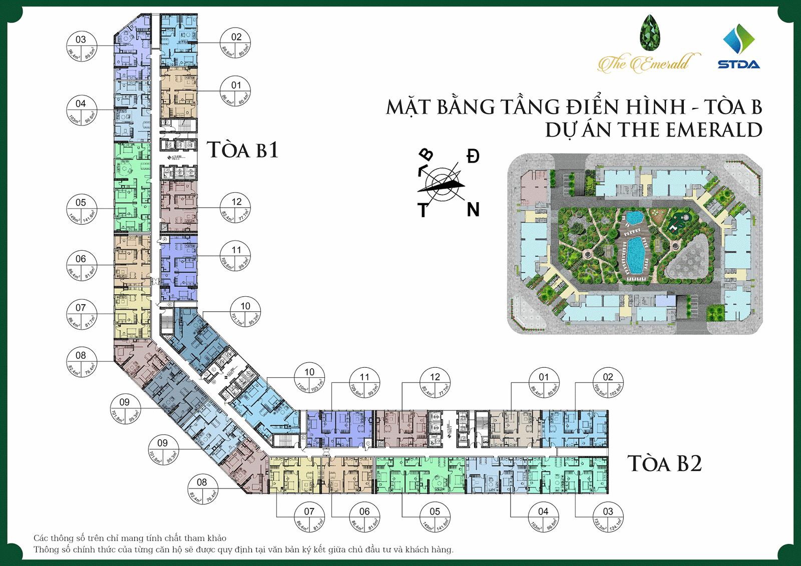 Mặt bằng điển hình tầng dự án chung cư The Emerald Mỹ Đình