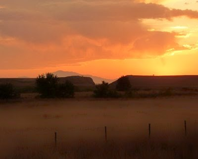 Sun setting near Wyoming-Nebraska border, early September 2009. Photo © Kitchen Parade All Rights Reserved.