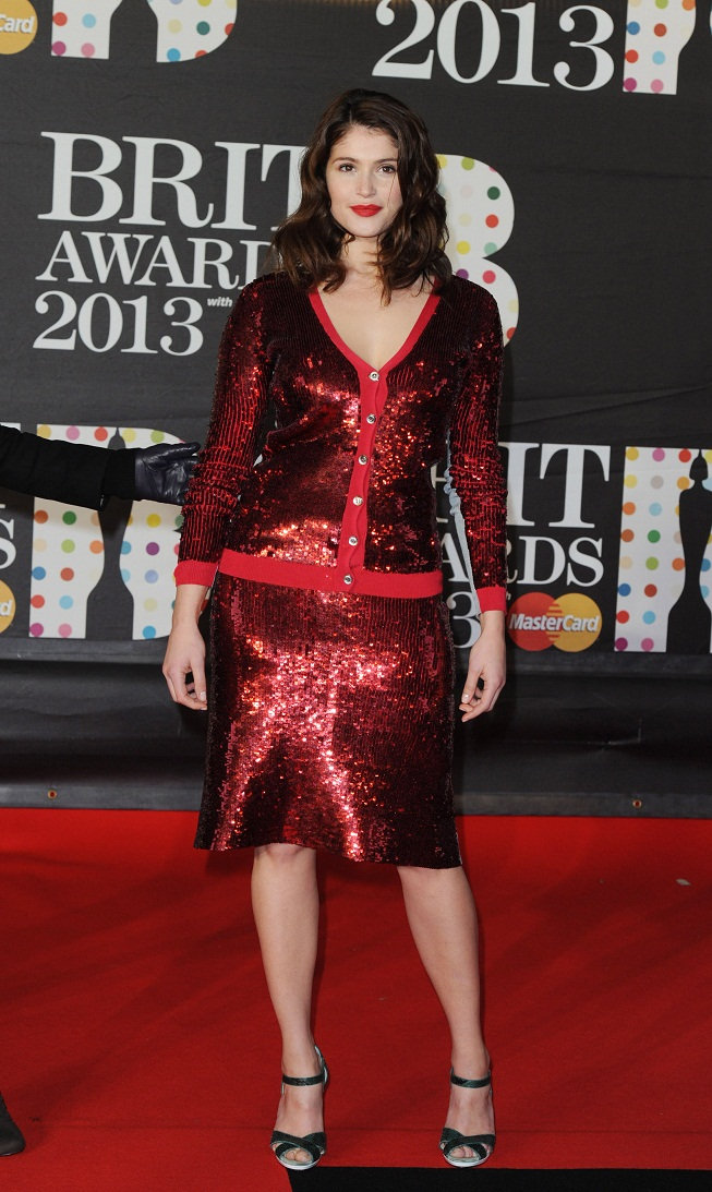 Gemma Arterton In A Sequined Red Dress At The Brit Awards 2013