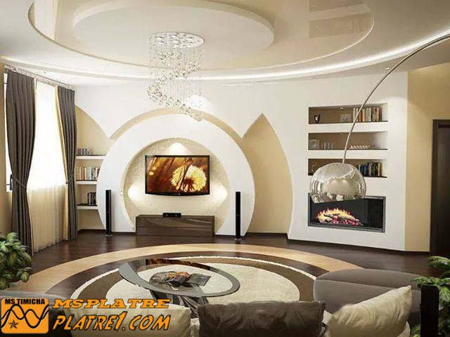 Meuble tv en placoplatre - decoration platre plafond