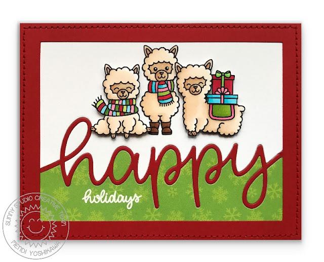 "Sunny Studio Stamps: Alpaca Holiday ""Happy Holidays"" Christmas Card"