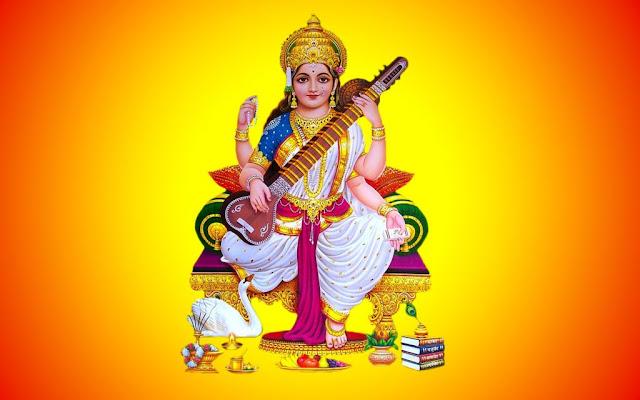 Best Maa Saraswati Puja HD Wallpaper In Yellow Background