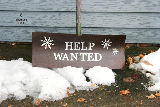 Stenciled Rusty Snow Shovel Decor organizedclutter.net