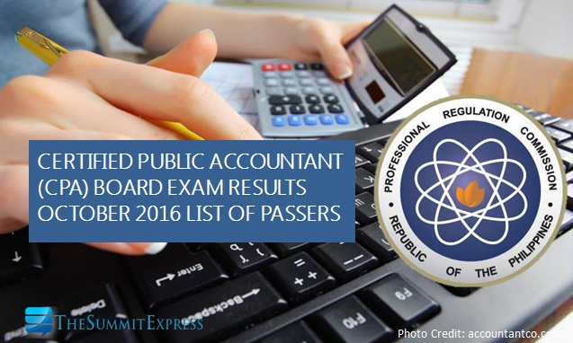 List of Passers: October 2016 CPA board exam results