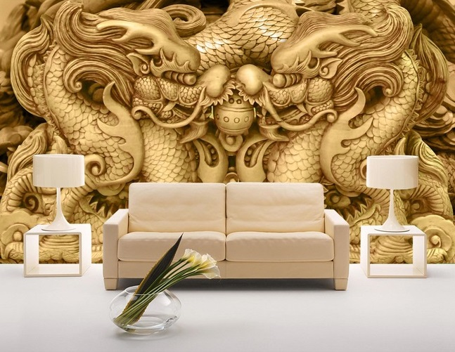 Tranh dán tường 3d rồng vàng