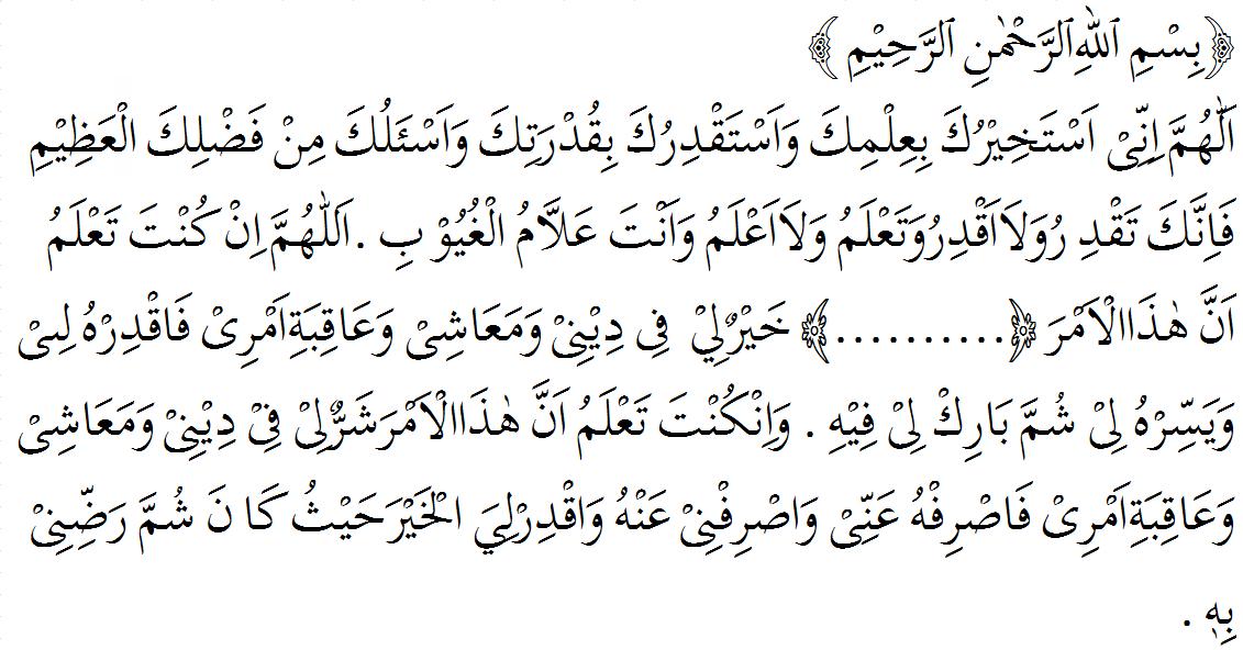 Doa Setelah selesai melaksanakan shalat istikharah lengkap dengan artinya