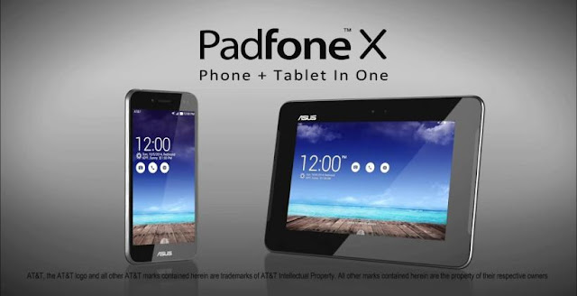 Asus PadFone X Specifications - LAUNCH Announced 2014, March  For AT&T DISPLAY Type Super IPS+ LCD capacitive touchscreen, 16M colors Size 5.0 inches (~66.3% screen-to-body ratio) Resolution 1080 x 1920 pixels (~441 ppi pixel density) Multitouch Yes, up to 10 fingers Protection Corning Gorilla Glass BODY Dimensions 143.4 x 72.5 x 10 mm (5.65 x 2.85 x 0.39 in) Weight 150 g (5.29 oz) SIM Micro-SIM  - Padfone Station with 9 inches IPS display, 1920 x 1200 pixels, 4990 mAh battery, front camera. 250.4 x 172.3 x 11.6 mm, 514 grams PLATFORM OS Android OS, v4.4.2 (KitKat) CPU Quad-core 2.3 GHz Krait 400 Chipset Qualcomm Snapdragon 800 GPU Adreno 330 MEMORY Card slot microSD, up to 64 GB (dedicated slot) Internal 16 GB, 2 GB RAM CAMERA Primary 13 MP, autofocus, LED flash Secondary 2 MP, 1080p@25fps Features Geo-tagging, touch focus, face detection Video 2160p@25fps, 1080p@25fps NETWORK Technology GSM / HSPA / LTE 2G bands GSM 850 / 900 / 1800 / 1900 3G bands HSDPA 850 / 900 / 1900 / 2100 4G bands LTE band 2(1900), 4(1700/2100), 5(850), 7(2600), 17(700) Speed HSPA 42.2/5.76 Mbps, LTE Cat4 150/50 Mbps GPRS Yes EDGE Yes COMMS WLAN Wi-Fi 802.11 a/b/g/n/ac, dual-band, Wi-Fi Direct, hotspot NFC Yes GPS Yes, with A-GPS, GLONASS USB microUSB v2.0 (SlimPort TV-out), USB Host Radio No Bluetooth v4.0, A2DP FEATURES Sensors Accelerometer, gyro, proximity, compass Messaging SMS(threaded view), MMS, Email, Push Email, IM Browser HTML5 Java No SOUND Alert types Vibration; MP3, WAV ringtones Loudspeaker Yes 3.5mm jack Yes  - Active noise cancellation with dedicated mic BATTERY  Non-removable Li-Po 2300 mAh battery Stand-by Up to 456 h (3G) Talk time Up to 20 h (3G) Music play  MISC Colors Titanium Black, Platinum White  - ASUS WebStorage (50 GB storage) - MP3/WAV/eAAC+ player - MP4/H.264 player - Document viewer - Photo viewer/editor - Voice memo/dial
