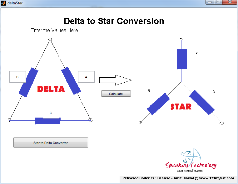 MATLAB GUI Star to Delta & Vice Versa Converter Application