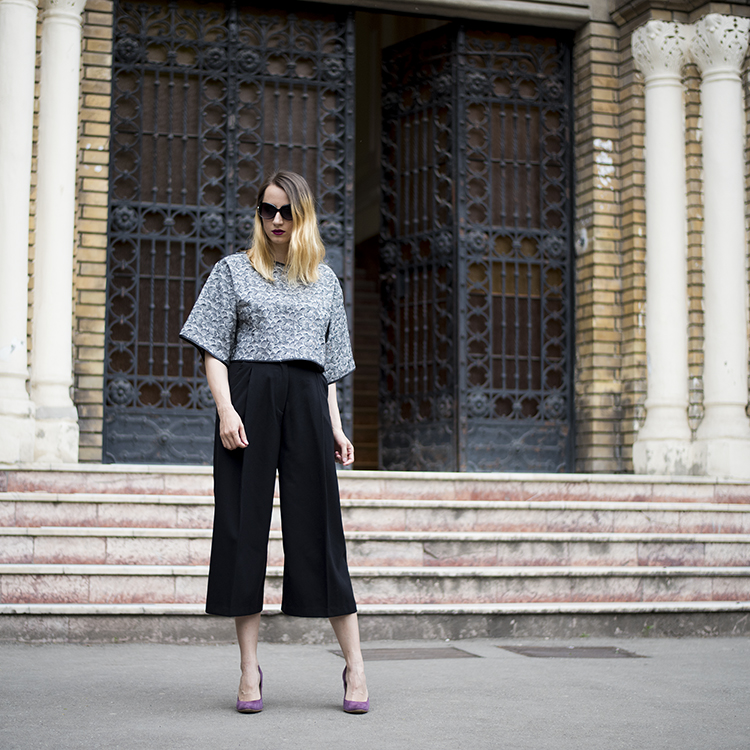 black and white crop top bell sleeves black culottes