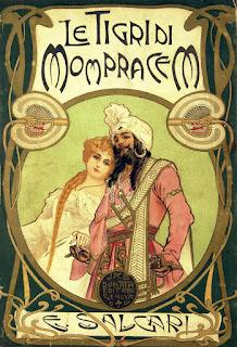 Portada del libro de Emili Salgari Le tigri di Mompracem, de 1900