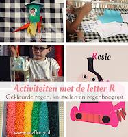 activiteiten met de letter R - gekleurde regen, knutselen en regenboogrijst