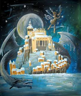 Annapia Sogliani https://www.latelierdannapia.com/ san michele drago quadro acrilico su tela, onirico poetico surrealista saint michel dragon lune fantasy art