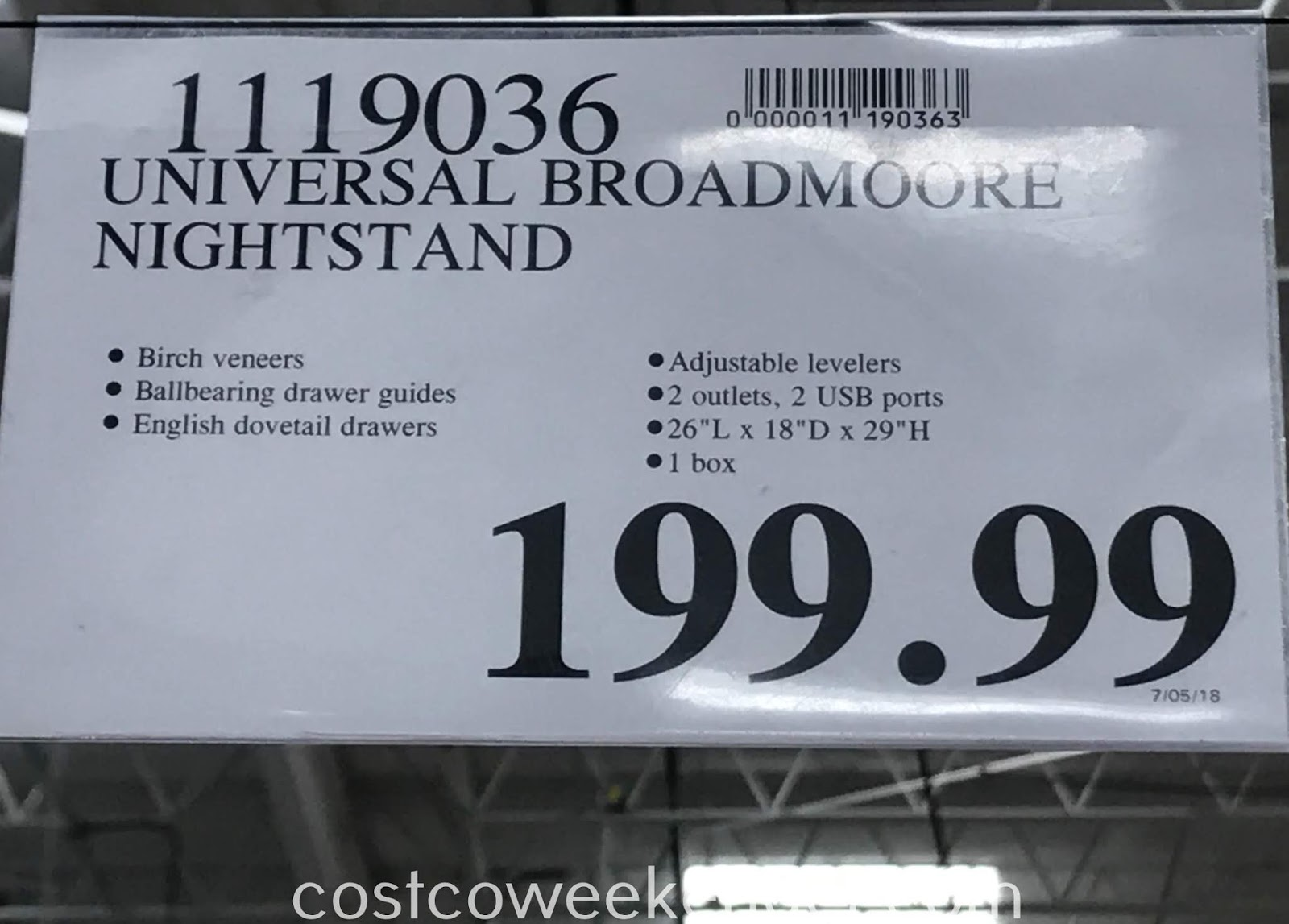 Deal for the Universal Broadmoore Nightstand at Costco