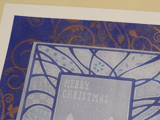 Christmas card using stencils and Groovi - close up