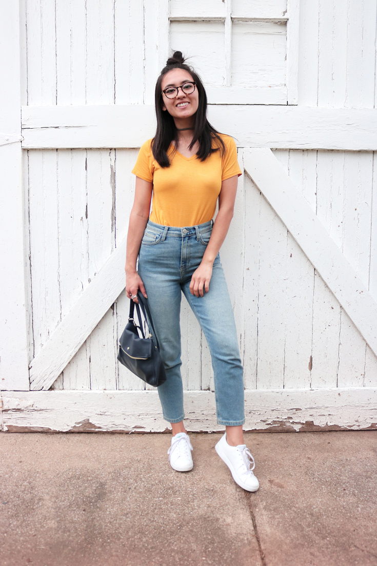 How to wear yellow in a basic outfit