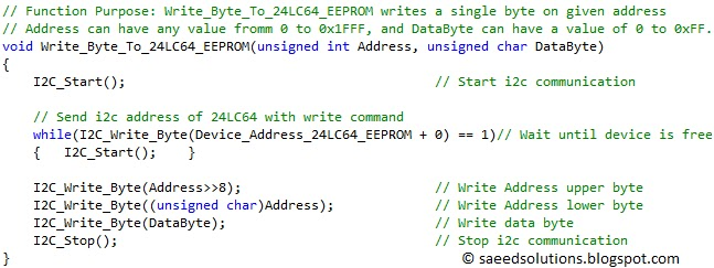 Interfacing of PIC16F877 with (i2c based) 24LC64 EEPROM (Code +