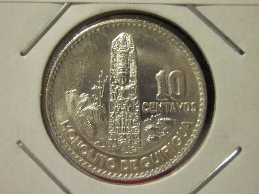 1964 Guatemala 10 Centavos silver coin — reverse side