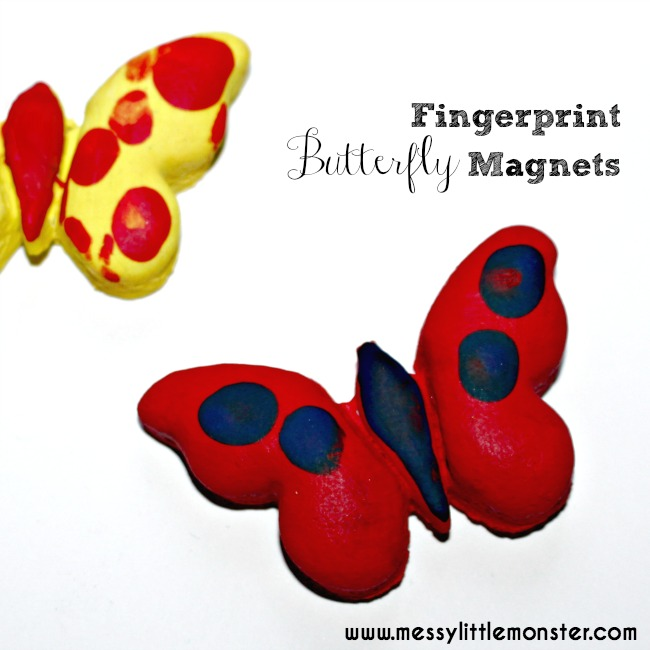 Salt dough fingerprint butterfly magnets.  A simple summer or spring craft for kids including toddlers and preschoolers.