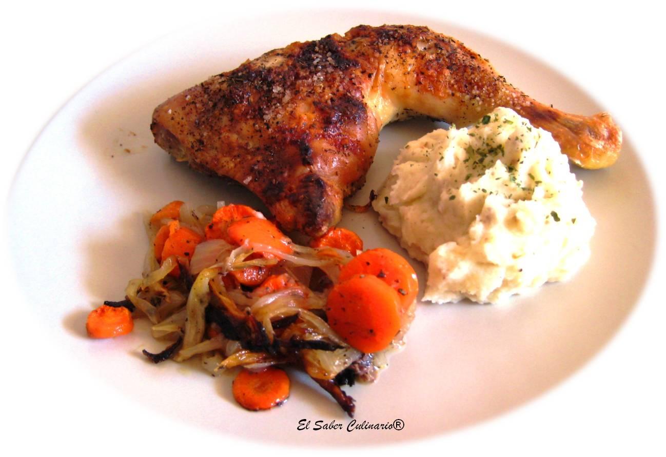 Pollo asado con puré a la trufa | Truco para que el pollo ...